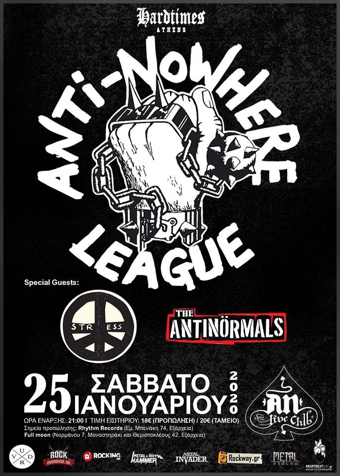 Anti Nowhere League 25 Jan poster